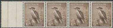 SG 230b ACSC 204p. 6d Purple-Brown Kookaburra strip of 4 (AA1/562)
